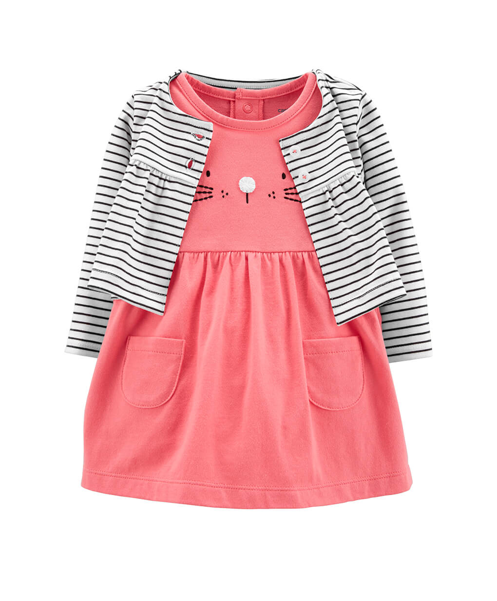 Carter's Girl 2-pc Bunny Bodysuit Dress & Cardigan Set