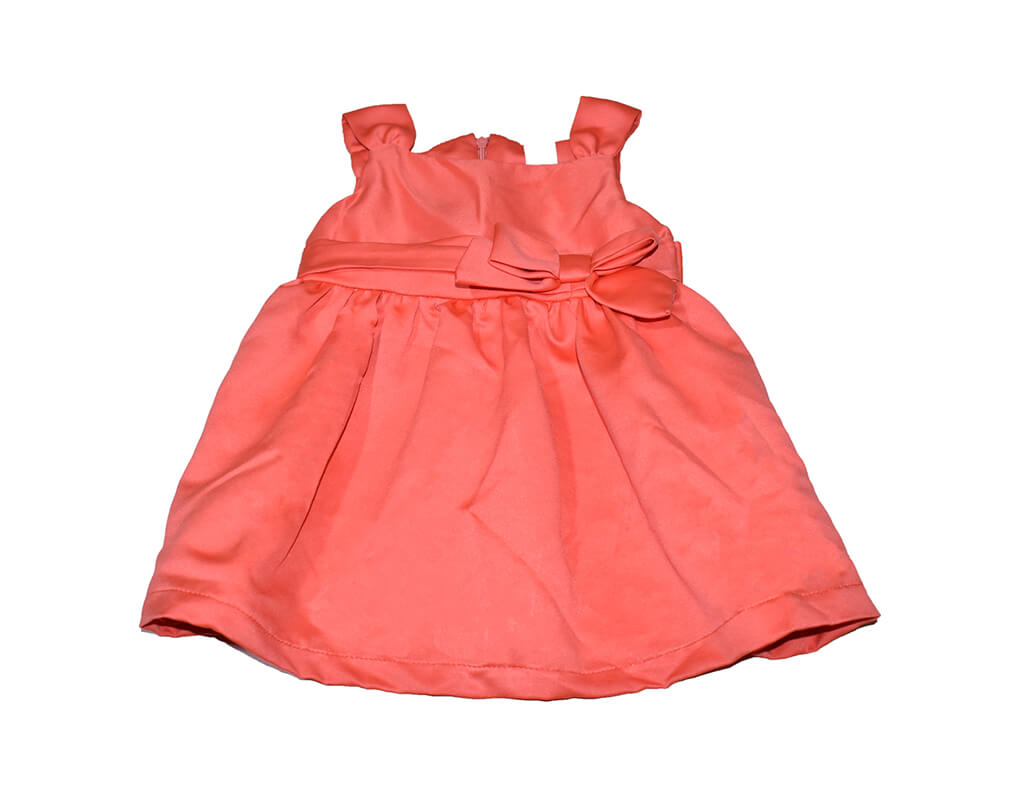 OshKosh Girl Infant Plain Party Dress with Ribbon – Red