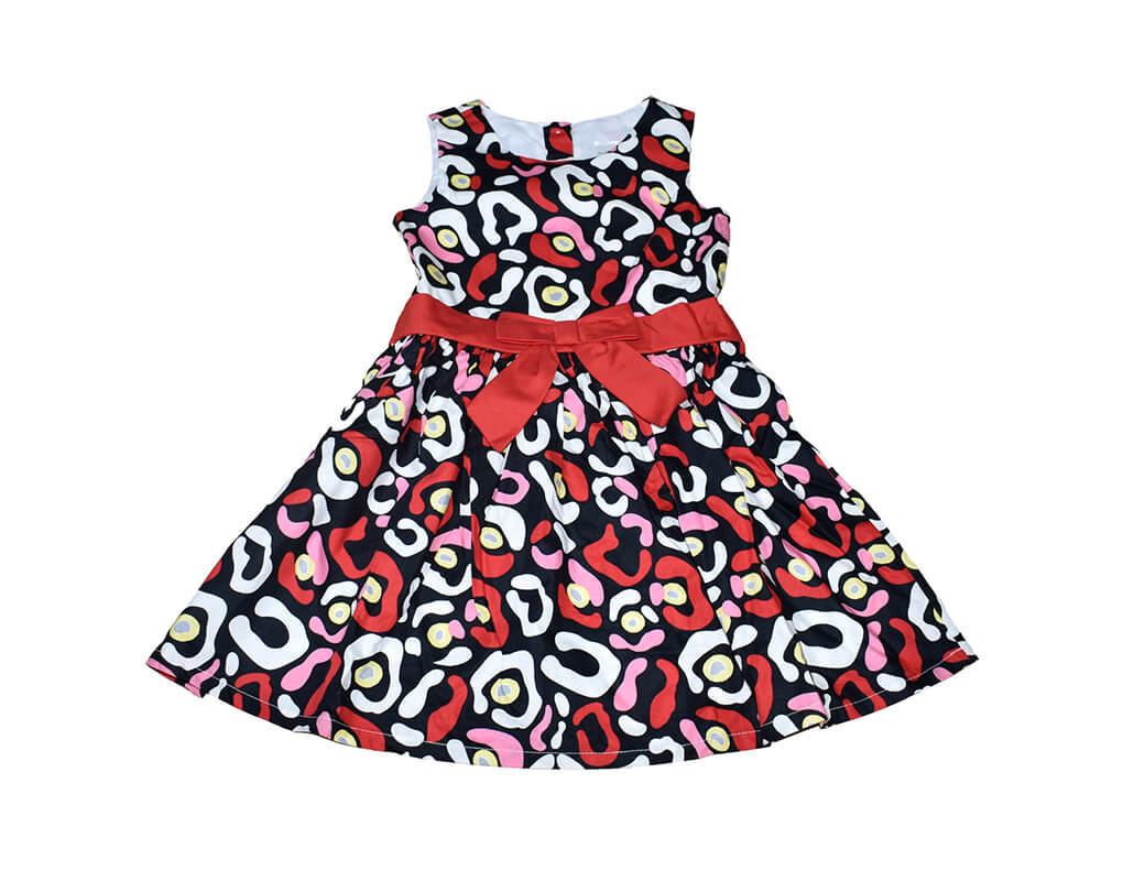 OshKosh Girl Toddler Printed Party Dress with Ribbon – Red