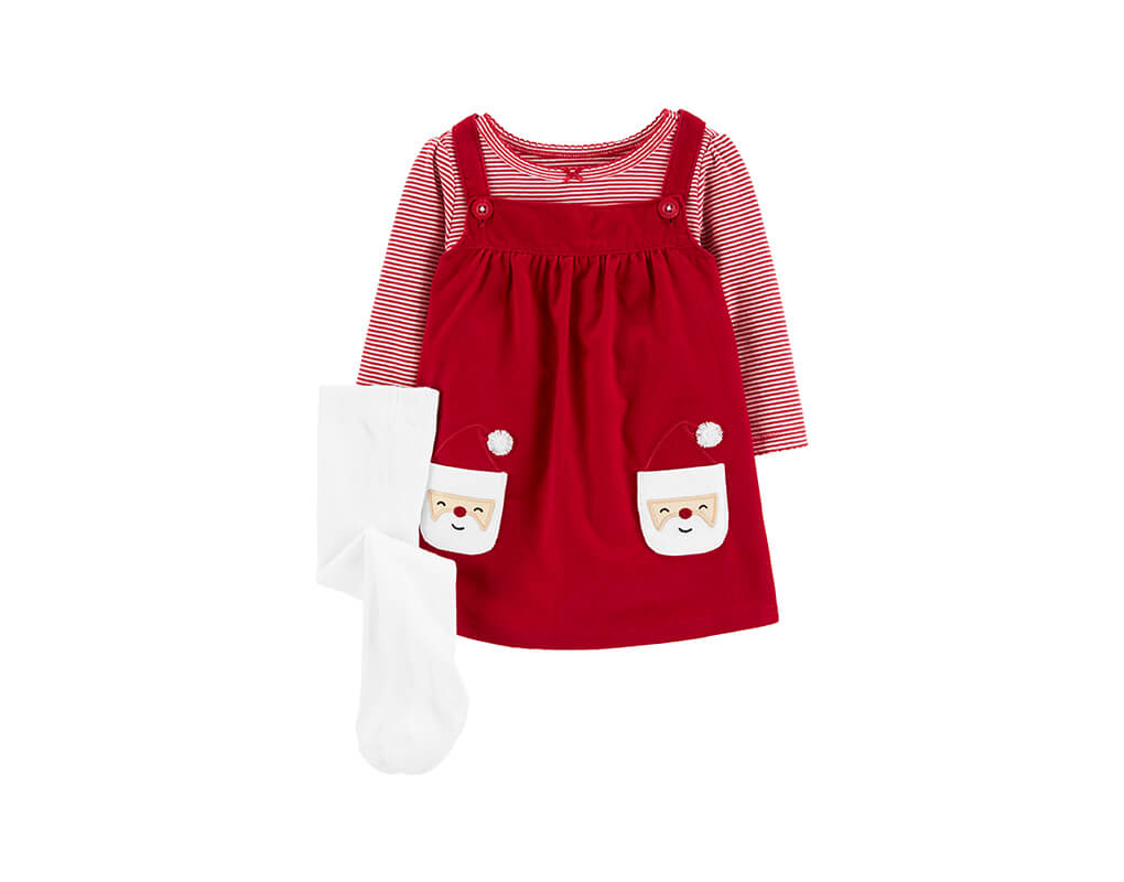 Carter's Girl 3-pc Striped Bodysuit & Santa Jumper Set