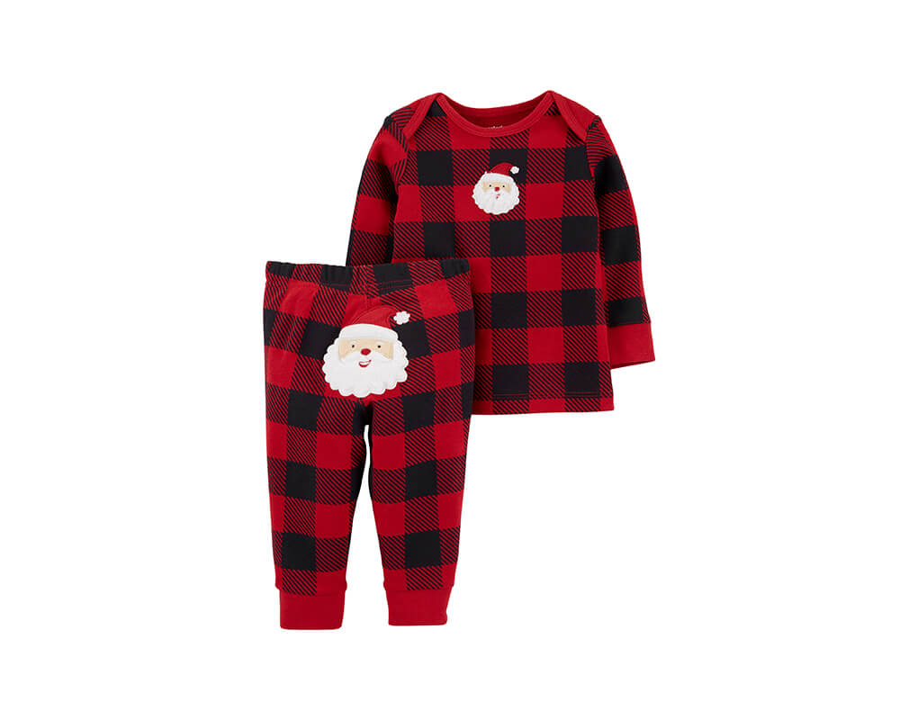Carter's Girl 2-pc Buffalo Check Top & Santa Pant Set